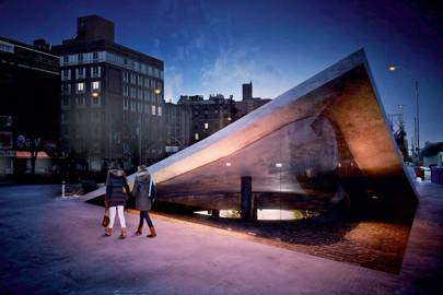 The above-ground entrance to New York's subterranean park (rendering)