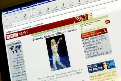 A website, falsely identifying itself as 'BBC News' with links connecting it to the real 'BBC News,' reports the death of pop singer Britney Spears June 13, 2001 in London, England