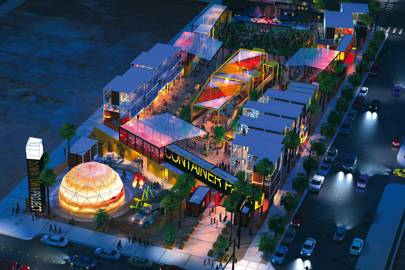 An artist's rendering of Tony Hsieh's proposed Container Park in his model Downtown Project in Las Vegas
