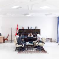 Till Stenzel, local head of the TuNur project (far left) meets the governor of Kebili, south-west Tunisia