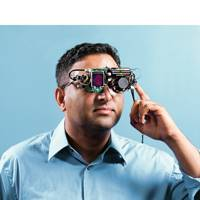 Ramesh Raskar with his retinal imaging glasses