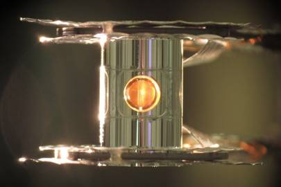 The gold cylinder where fusion reactions take place at NIF