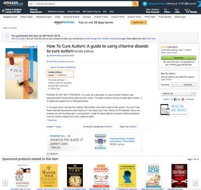 Amazon sells 'autism cure' books that suggest children drink