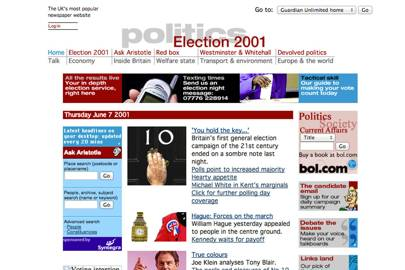 The 2001 general election was the first covered live online