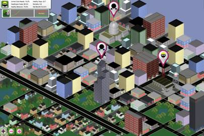 Healthcare sim showing the user interface for the city view of the simulation. The simulation was used to develop action plans for driving down healthcare costs while also improving quality and delivery of healthcare in a variety of US cities.