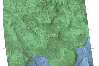 A cropped sample of the map showing the structure and geology of the local landscape