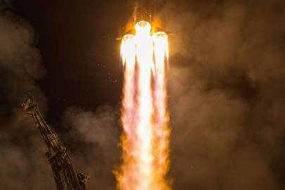 A Russian Soyuz rocket launches