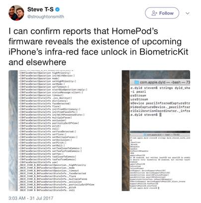 iOS developer Steven Troughton-Smith posts on Twitter his findings in the HomePod firmware evidence of infra-red face ID unlock for the new iPhone
