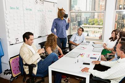 Jonah Peretti (as horse) with his colleagues including Jon Steinberg (far left)