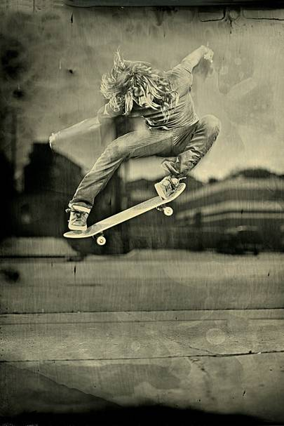 Skateboarder Levi Brown was shot in motion using wet-plate techniques