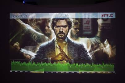 Following the midnight launch of Iron Fist, a screen shows live stats of viewers hitting play on episode 1