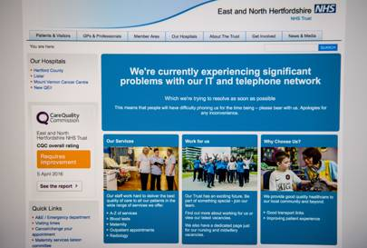 NHS IT problems information screen