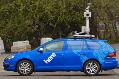 A HERE car outfitted with GPS, LIDAR, and cameras