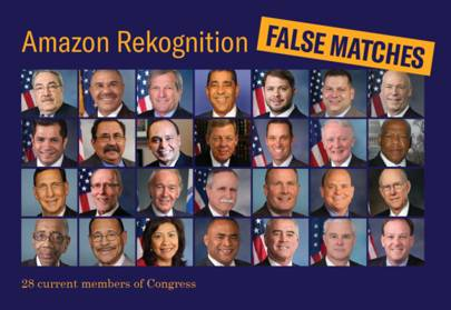 28 US politicians were incorrectly matched to police mugshots in a test of Amazon's Recognition facial recognition system