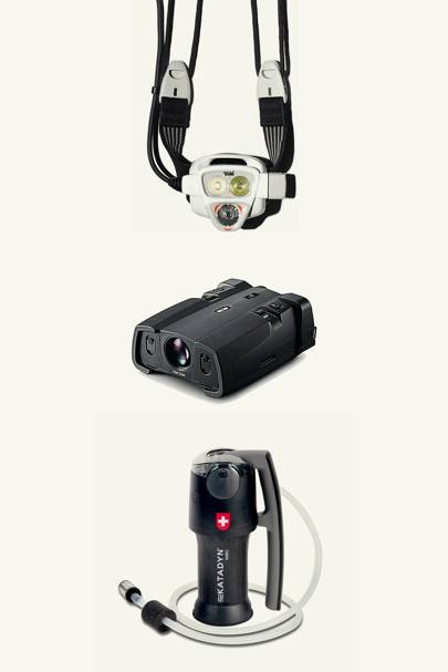 From top: Petzl Nao 575L head torch; Richoh NV-10A binoculars; Katadyn Vario Microfilter