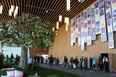 A nature-themed networking space outside the main conference theatre at TED2016 in Vancouver, Canada