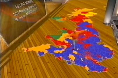 The BBC's 2005 general election coverage included an elaborate computer-generated set