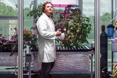 Caleb Harper among his data-reared crops at the MIT Media Lab
