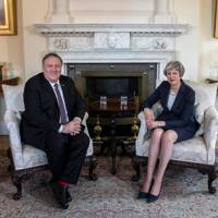 US Secretary of State Mike Pompeo meets Prime Minister Theresa May at 10 Downing Street, on May 8, 2019 in London, England.