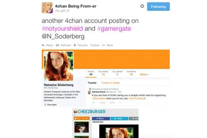 This account used to astroturf the #GamerGate and #notyourshield hashtags uses a stock image of a redhead from Cheezburger