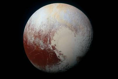 A high-resolution enhanced colour image of Pluto captured on 14 July 2015. Blues, yellows, oranges and reds combine on the dwarf planet's complex surface. The image reveals details on scales as small as 0.8 miles (1.3km)
