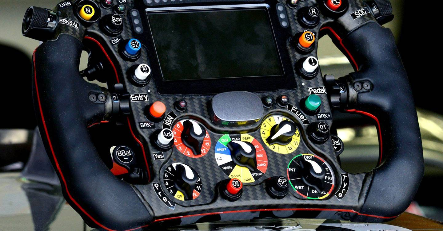 The complex controls of an F1 steering wheel revealed