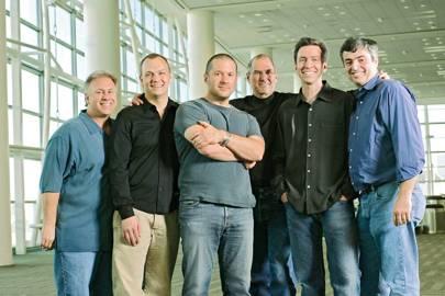 Left-right: Apple's Philip Schiller, Tony Fadell, Jony Iver, Steve Jobs, Scot Forstall and Eddie Cue in 2007
