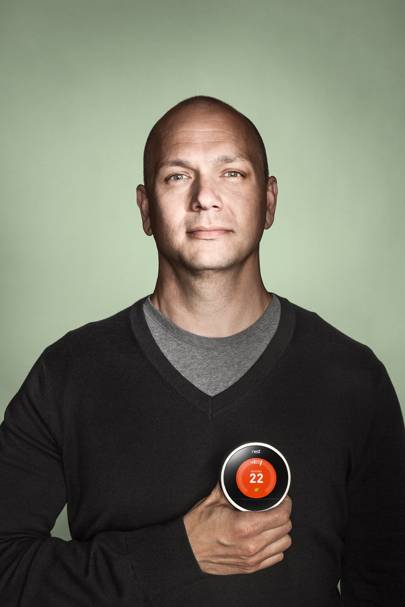 Tony Fadell holding the £179 Nest Learning Thermostat