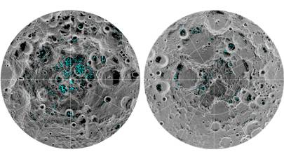 Distribution of water ice on the poles of the moon