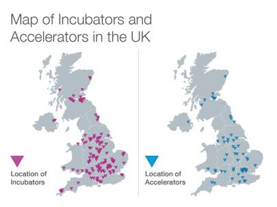 Map of incubators and accelerators in the UK