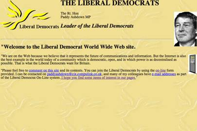 """Party leader Paddy Ashdown's welcome message said the internet was """"the future of communications and information"""""""