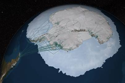 A significant portion of the data in Bedmap2 was collected by NASA's Operation IceBridge. Flight paths from the 2009, 2010 and 2011 Antarctic campaigns are shown here as dark green lines.