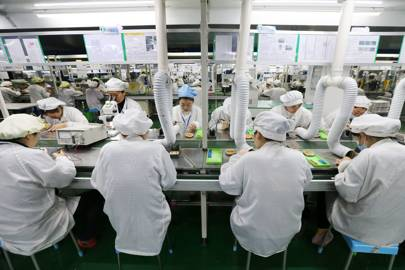 Smartphone components on a production line in Huaibei, China
