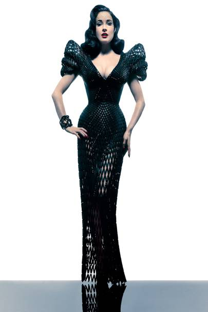 Dita Von Teese wearing the 3D-printed dress made by designer Michael Schmidt and architect Francis Bitonti