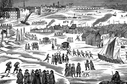 "Frost Fair on the Thames at London, 1683. Freezing winters were common in the UK during a period known as the ""Little Ice Age"""