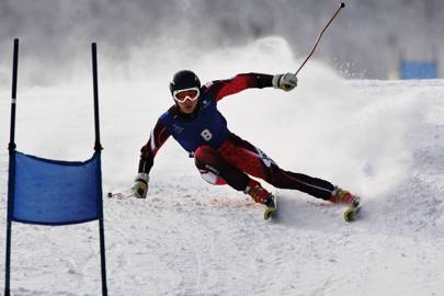 Takumu Yoshinami of Japan in action during the mens Giant Slalom of the sixth Asian Winter Games at Jilin Beida Lake Skiing Site February 1, 2007 in Changchun, China