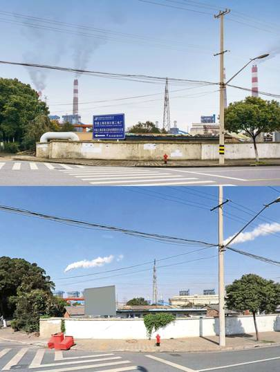 """Above: a chimney stack in a Chinese industrial district. Below: the same area in Baidu Total View. The stacks have been removed from the Baidu image, but not the smoke, which billows out regardless. """"It's not very well done,"""" said Browning. """"The sign has been Photoshopped so you can't name the power station. But, on Map View, it still says which power station it is."""" This area was busy, so Browning took his photograph from the car. """"I got a couple of weird looks, so I did that quickly and then left"""""""
