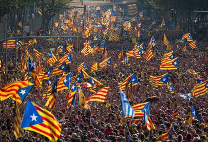Crowd Gathers in Barcelona For Spanish Unity Rally