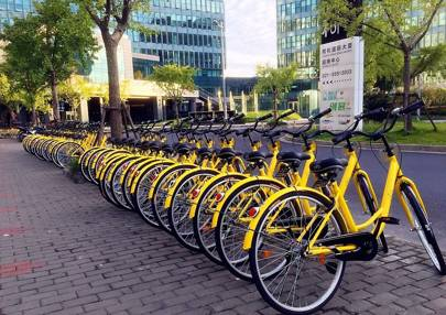 Ofo's bikes - neatly lined up for once