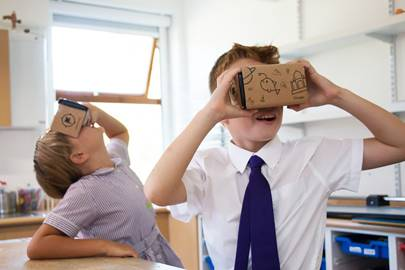School children in Twickenham, London, trying out Google Expeditions