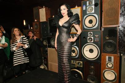 Dita Von Teese launching the 3D-printed dress