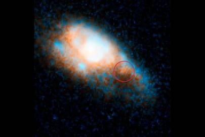 On 3 June, a short-duration gamma ray burst was detected. The associated kilonova is circled. It is in a galaxy almost four billion light years away