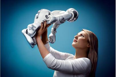 Heather Knight of Carnegie Mellon University with her robot friend, Data