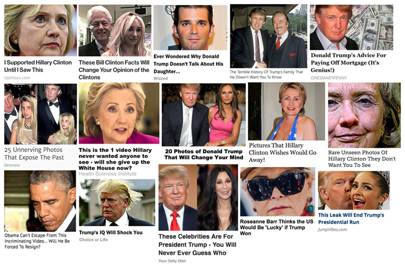 A selection of US presidential election-focussed promoted stories that were displayed alongside articles in August 2016