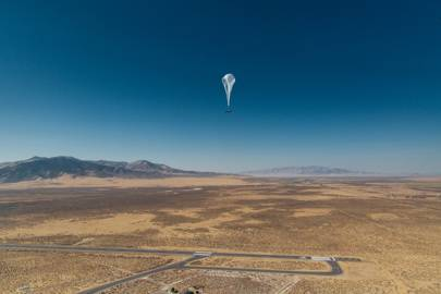 A Loon telecommunications balloon in flight