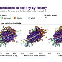 The spread of obesity in the US among those who do not exercise (the Midwest is purple)