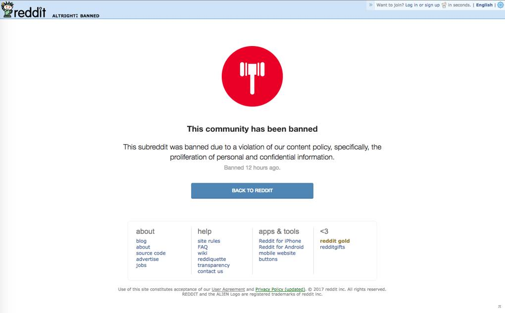 Reddit bans two alt-right subreddits for posting personal