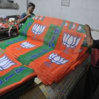 A workshop making Bharatiya Janata Party (BJP) election campaign banners