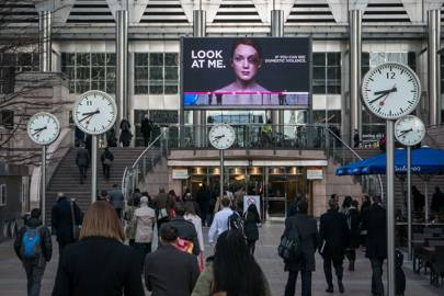 The interactive billboards use facial recognition to track how many people are looking at them
