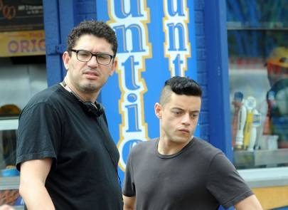 Actor Rami Malek with director Sam Esmail are seen on the set of 'Mr. Robot' in Coney Island on June 16, 2016 in New York City